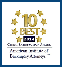 2014 - 10 Best Client Satisfaction Award American Institute of Bankruptcy